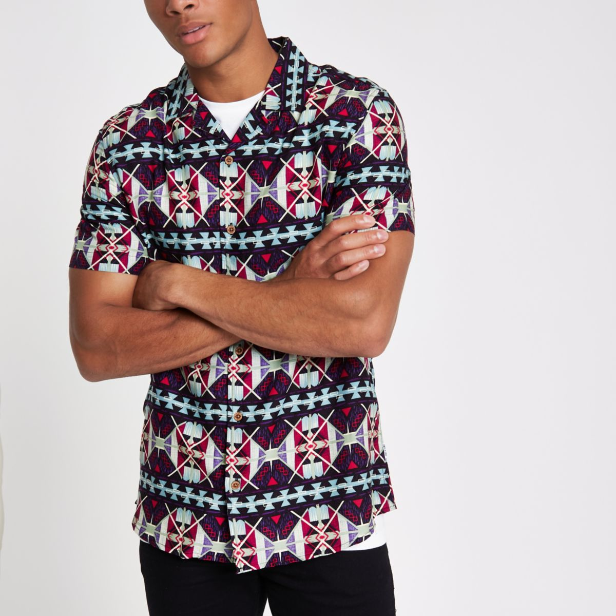 Only & Sons navy reverse print shirt