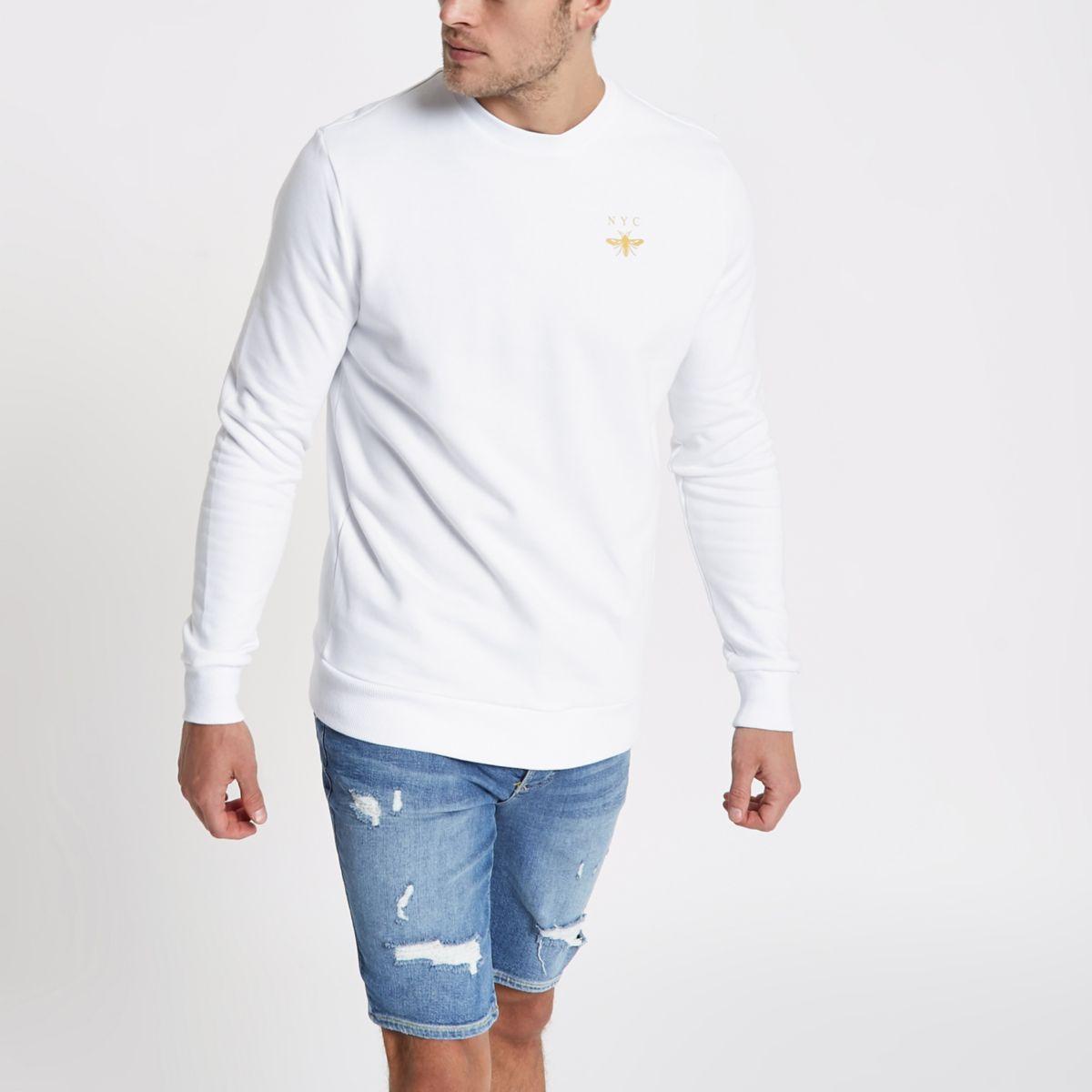 White 'NYC' wasp print long sleeve sweatshirt