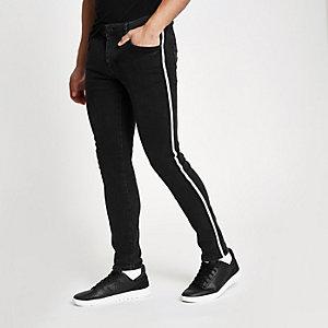 Skinny-fit jeans met bies opzij en zwarte wash