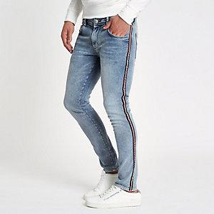 Blaue Skinny Jeans mit Waschung