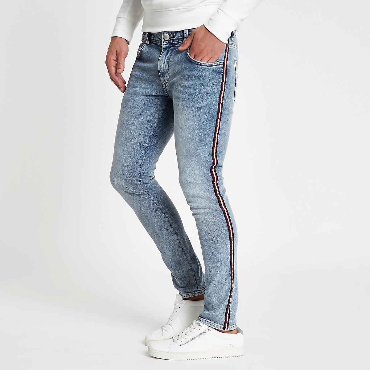 Jean fuselé skinny délavage bleu