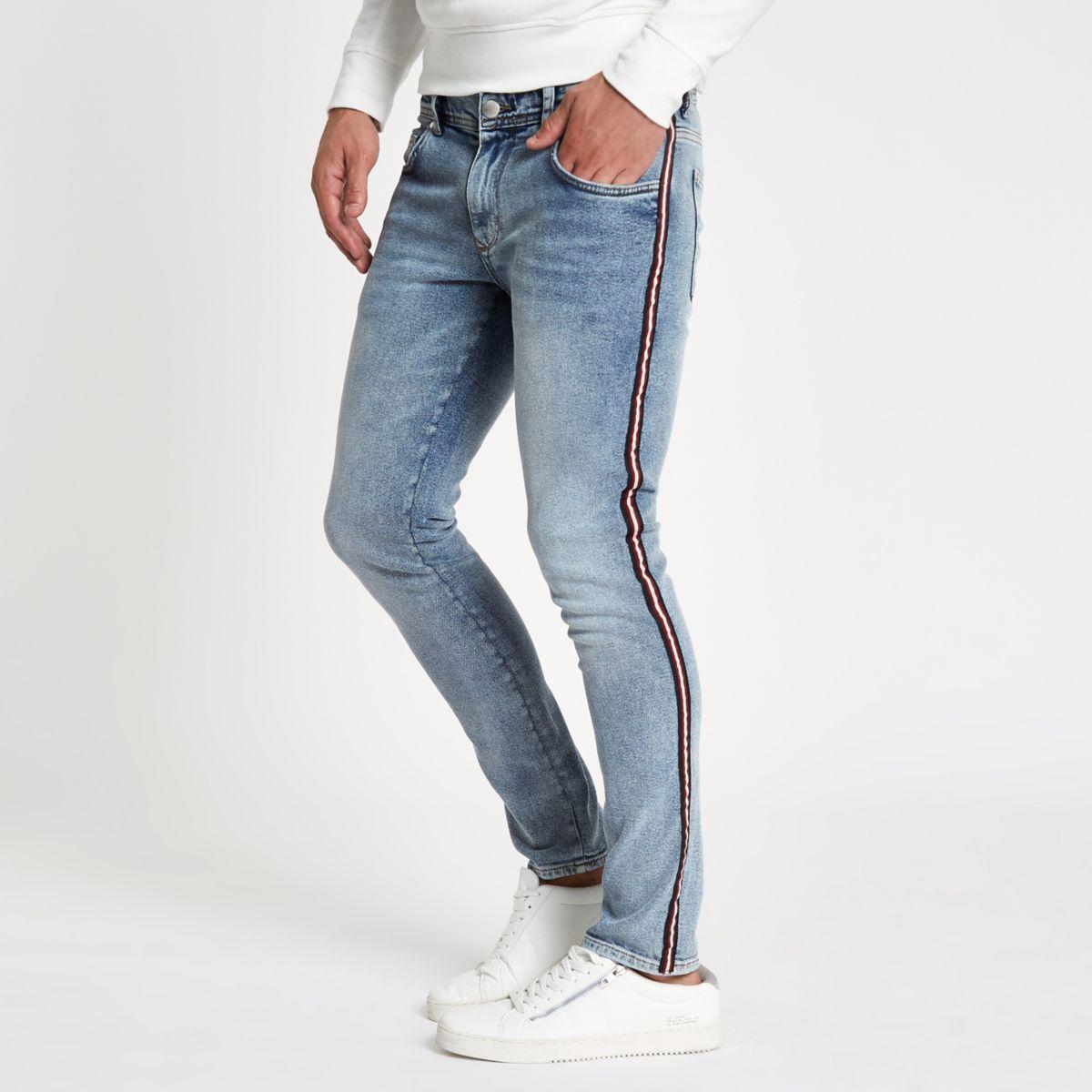 Blue stone wash skinny tape jeans
