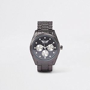 Softech - Zwart horloge met siersteentjes en kettingsluiting