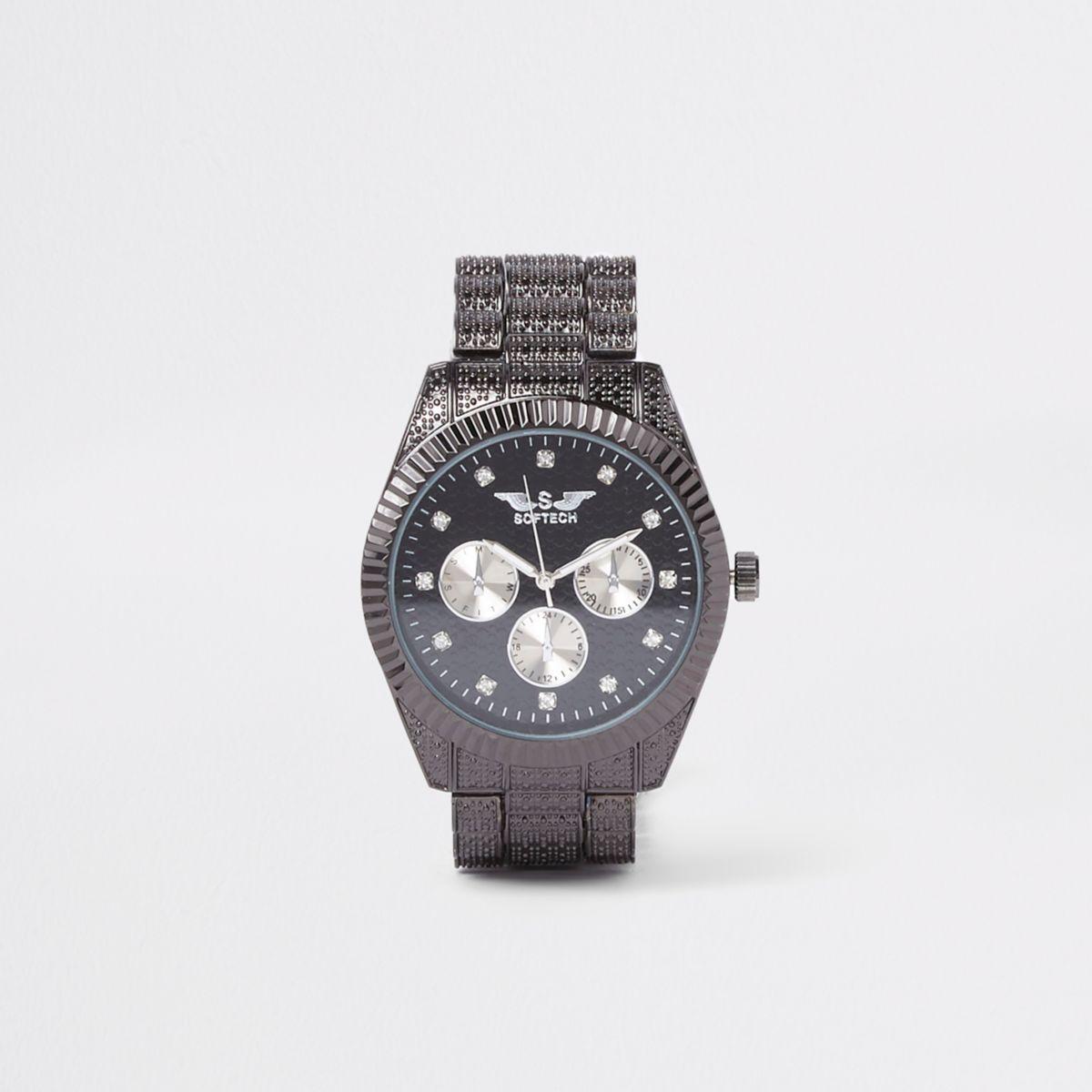 Black Softech rhinestone chain link watch