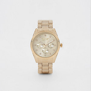Gold tone Softech rhinestone chain link watch