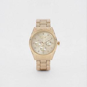 Softech - Goudkleurig horloge met siersteentjes en kettingsluiting