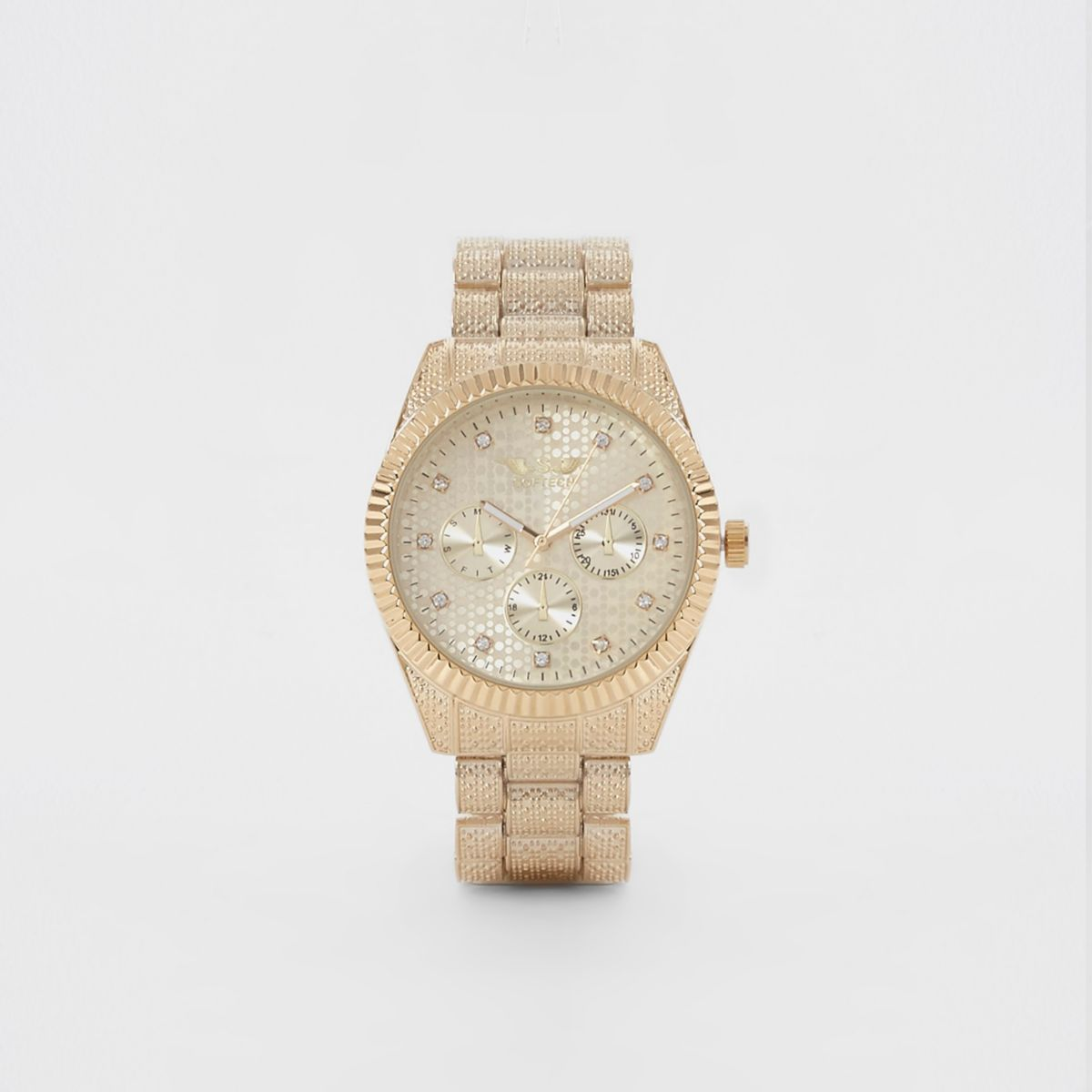Gold tone Softech diamante chain link watch