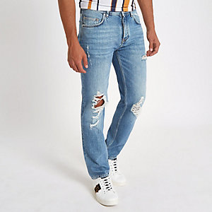 Bobby - Lichtblauwe ripped standaard jeans