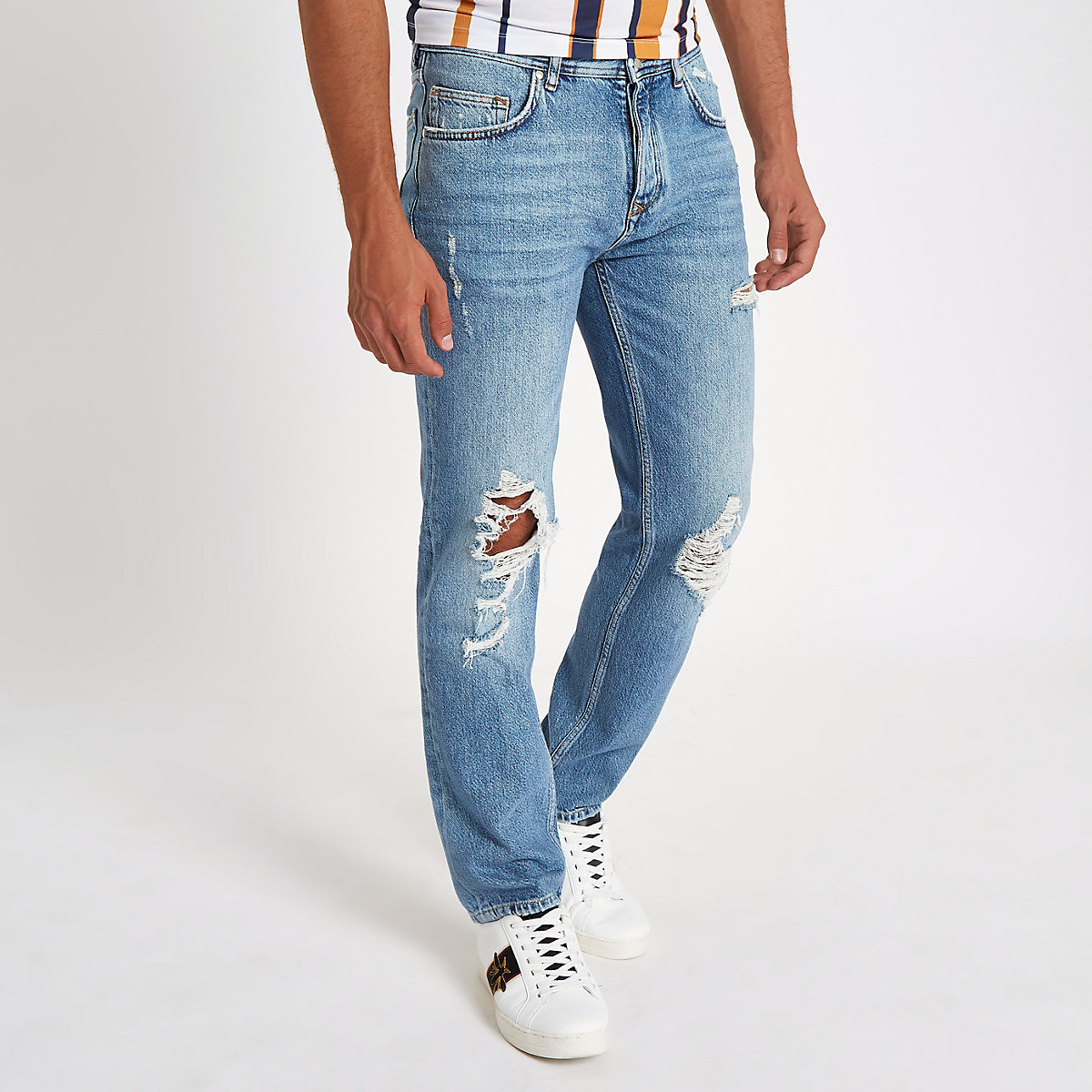 Light blue Dean ripped standard jeans