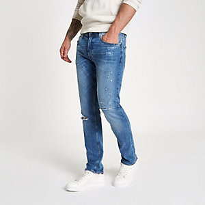 Dylan - Blauwe slim-fit ripped jeans