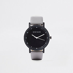Grey round face minimal watch
