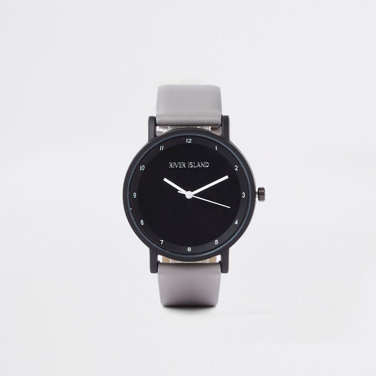 Grey round face minimal watch