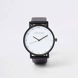 Black round face minimal watch