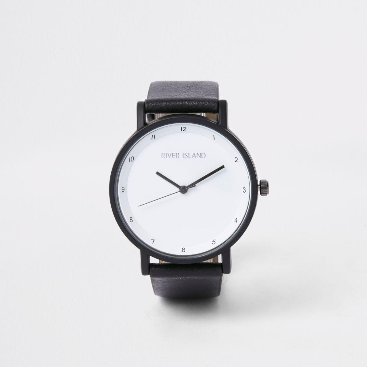 Black round face minimal watch