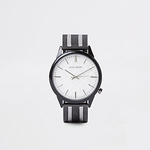 Black striped mesh fabric strap round watch