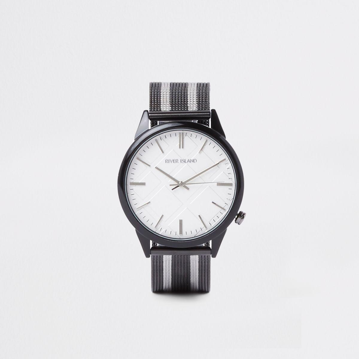 Black striped mesh fabric strap round watch