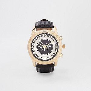 Black leather look wasp watch