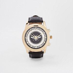Wasp horloge met zwarte leerlook band