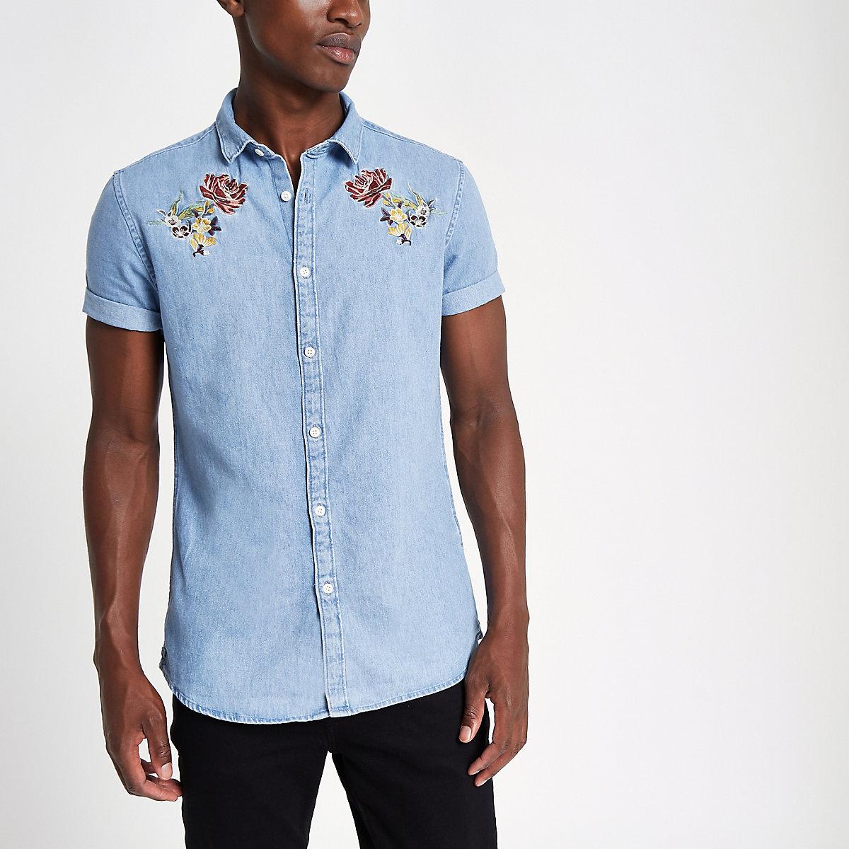 Blue slim fit embroidered denim shirt