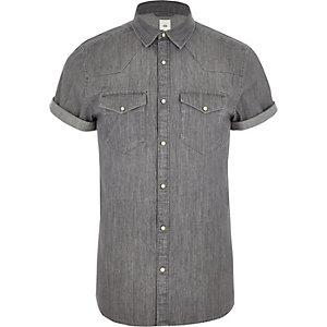 Grijs slim-fit denim overhemd in westernlook