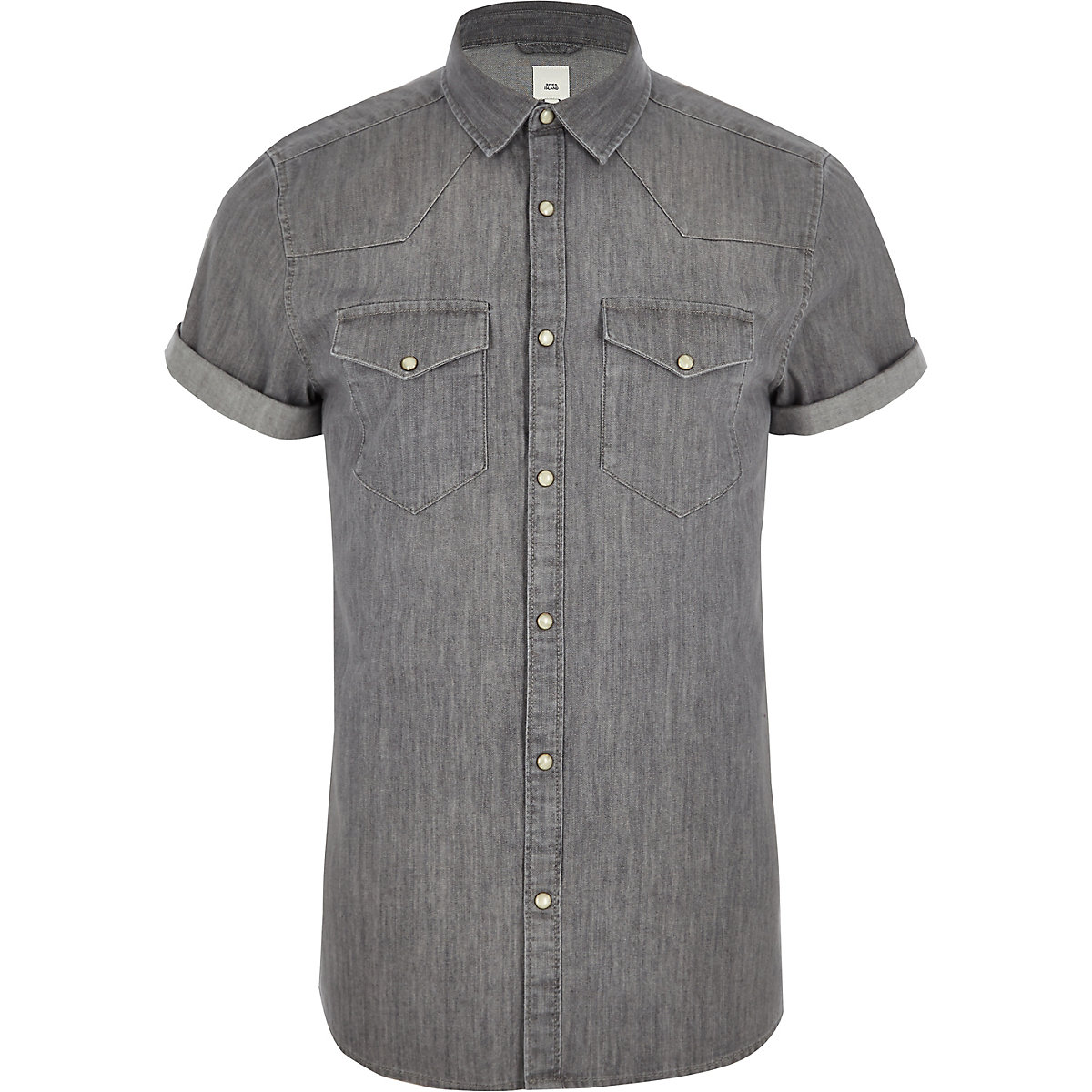 Grey western style slim fit denim shirt