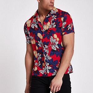 Chemise manches courtes à fleurs rouge avec col à revers