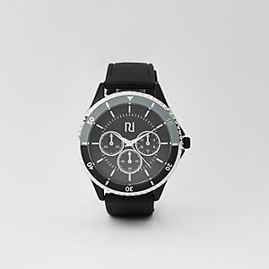 Black rubber strap round bezel watch