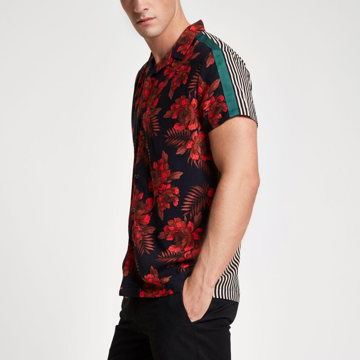 Red short sleeve floral stripe print shirt