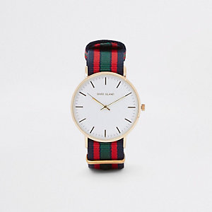 Marineblaue, runde Armbanduhr mit gestreiftem Stoffarmband