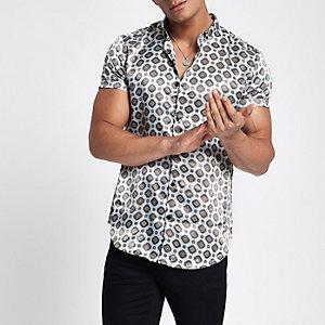 Graues Slim Fit Hemd mit Kachelmuster