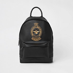 Black wasp embroidered backpack