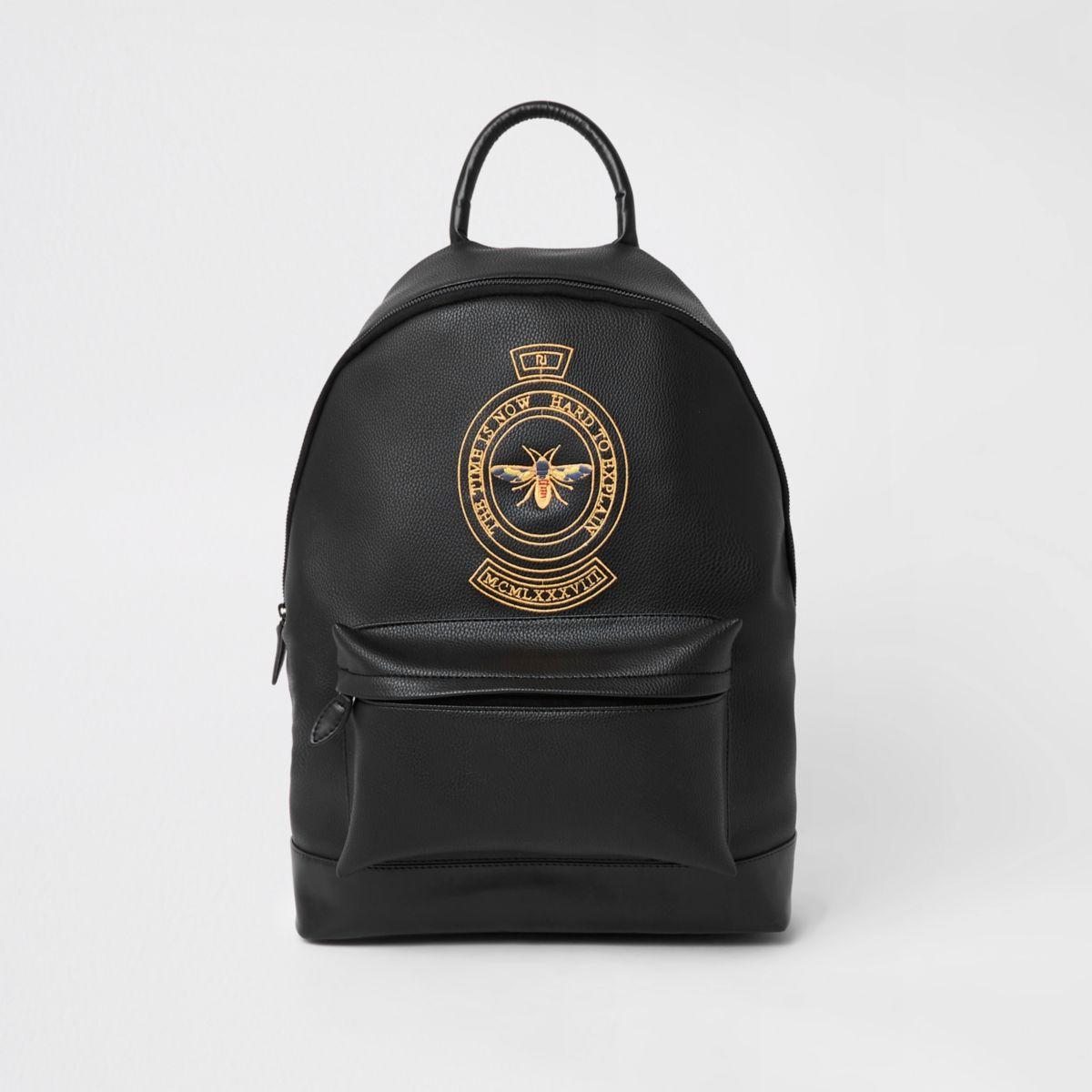 Black wasp embroidered backpack