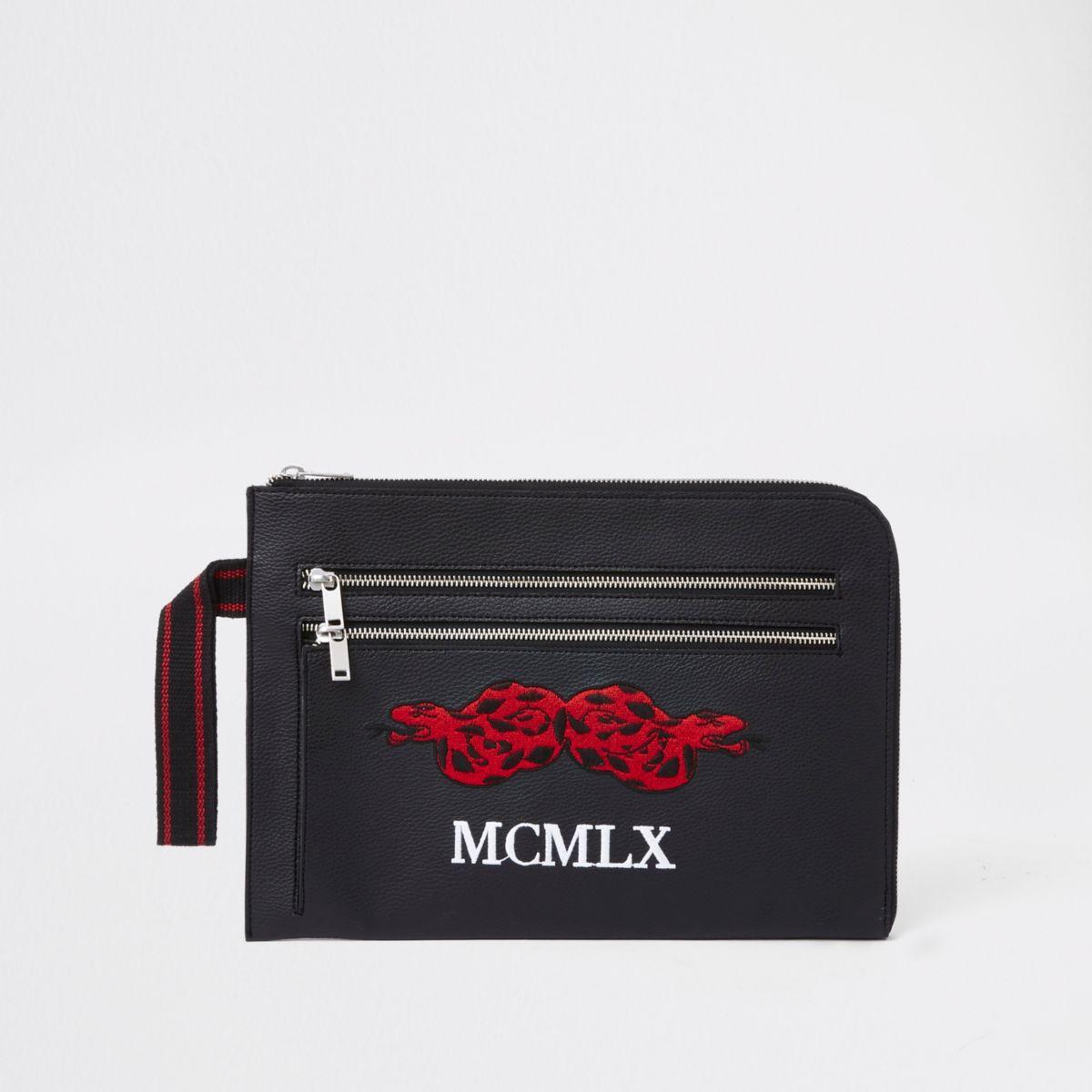 Black' MCMLX' snake embroidered portfolio bag