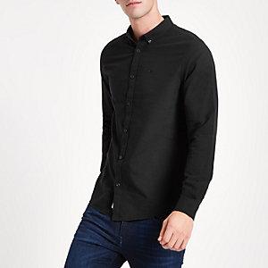 Zwart Oxford overhemd met geborduurde wesp