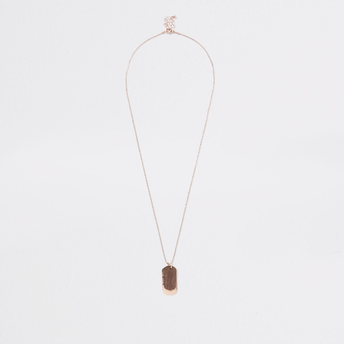 Gold tone wooden dog tag necklace