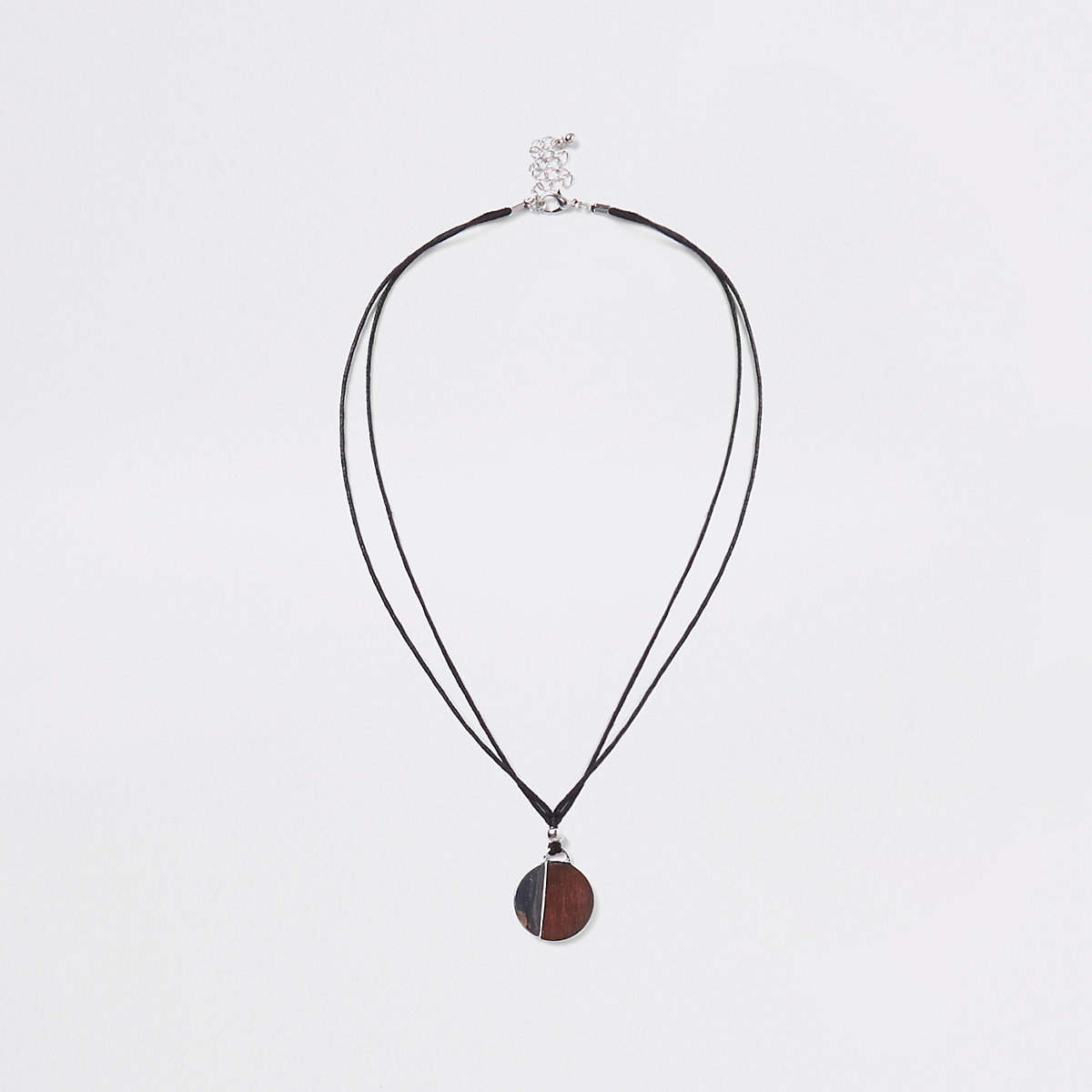 Brown wooden circle rope necklace