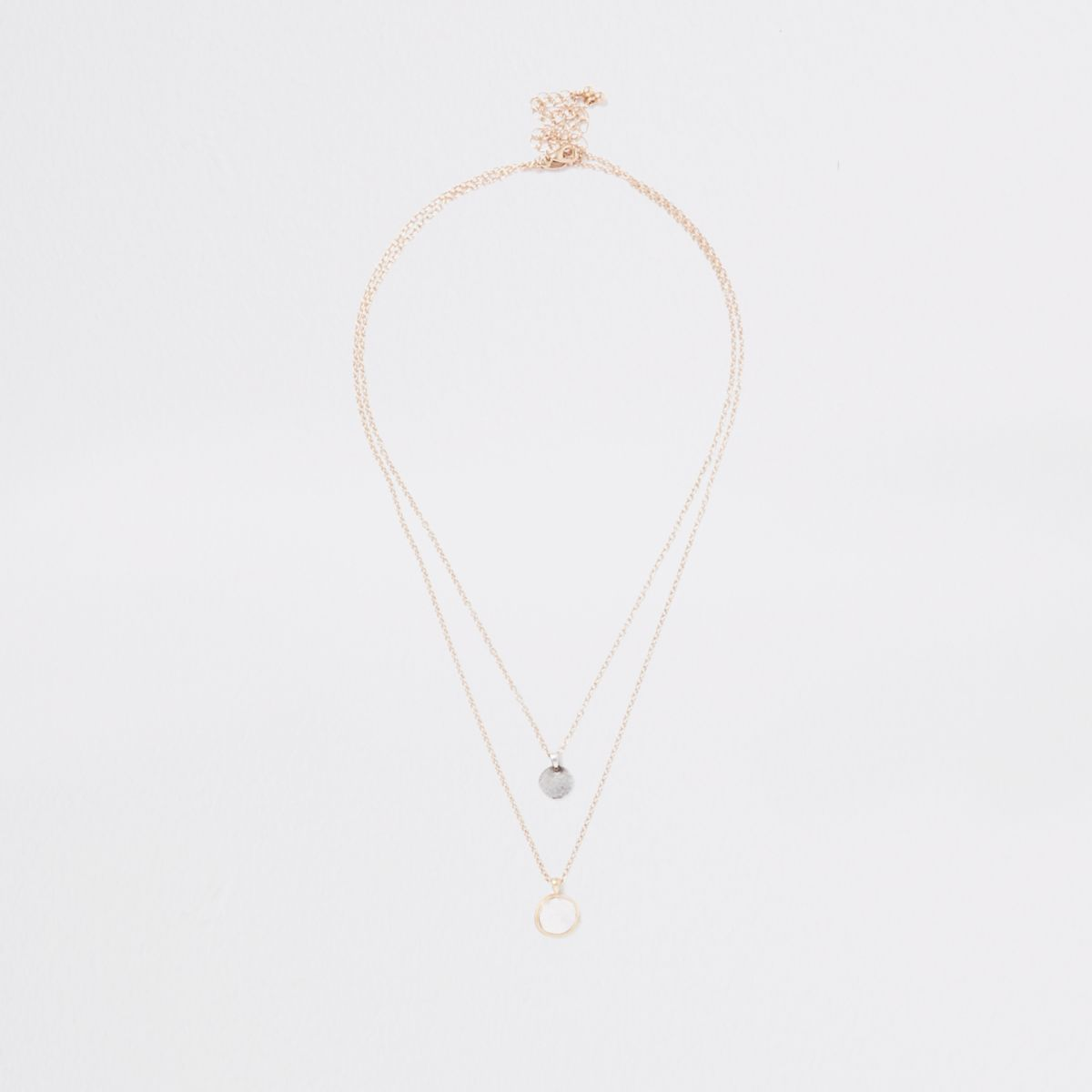 Gold tone coin chain necklace multipack