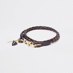 Bruine gevlochten leren armband