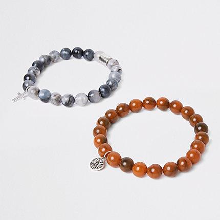 River Island Lot de bracelets en perles noirs