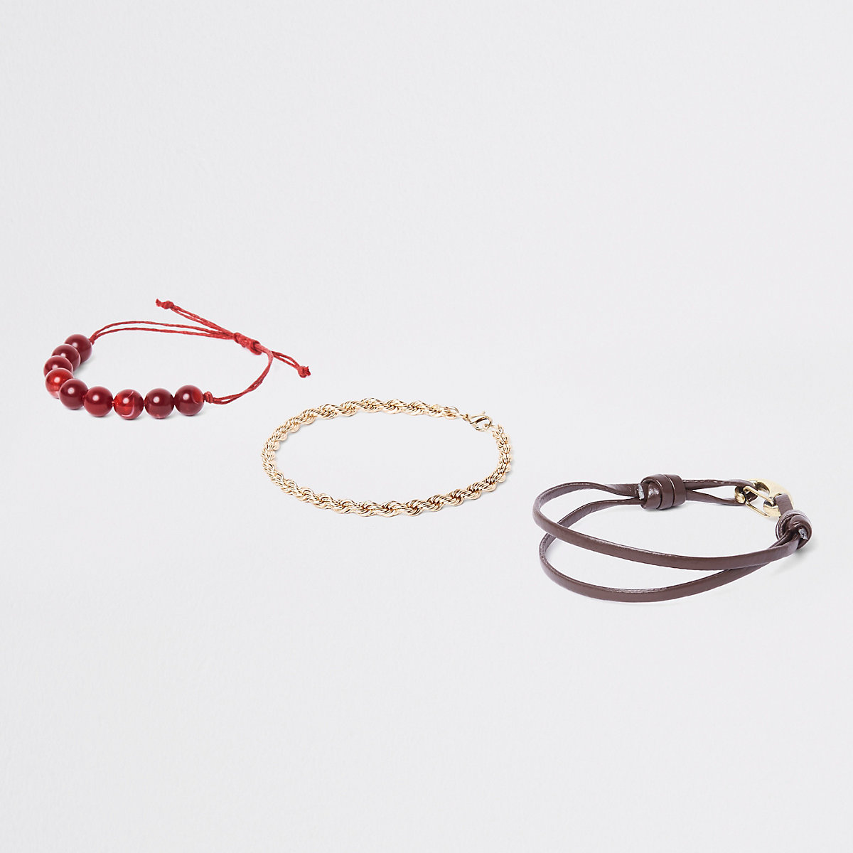 Red bead and gold tone bracelet pack
