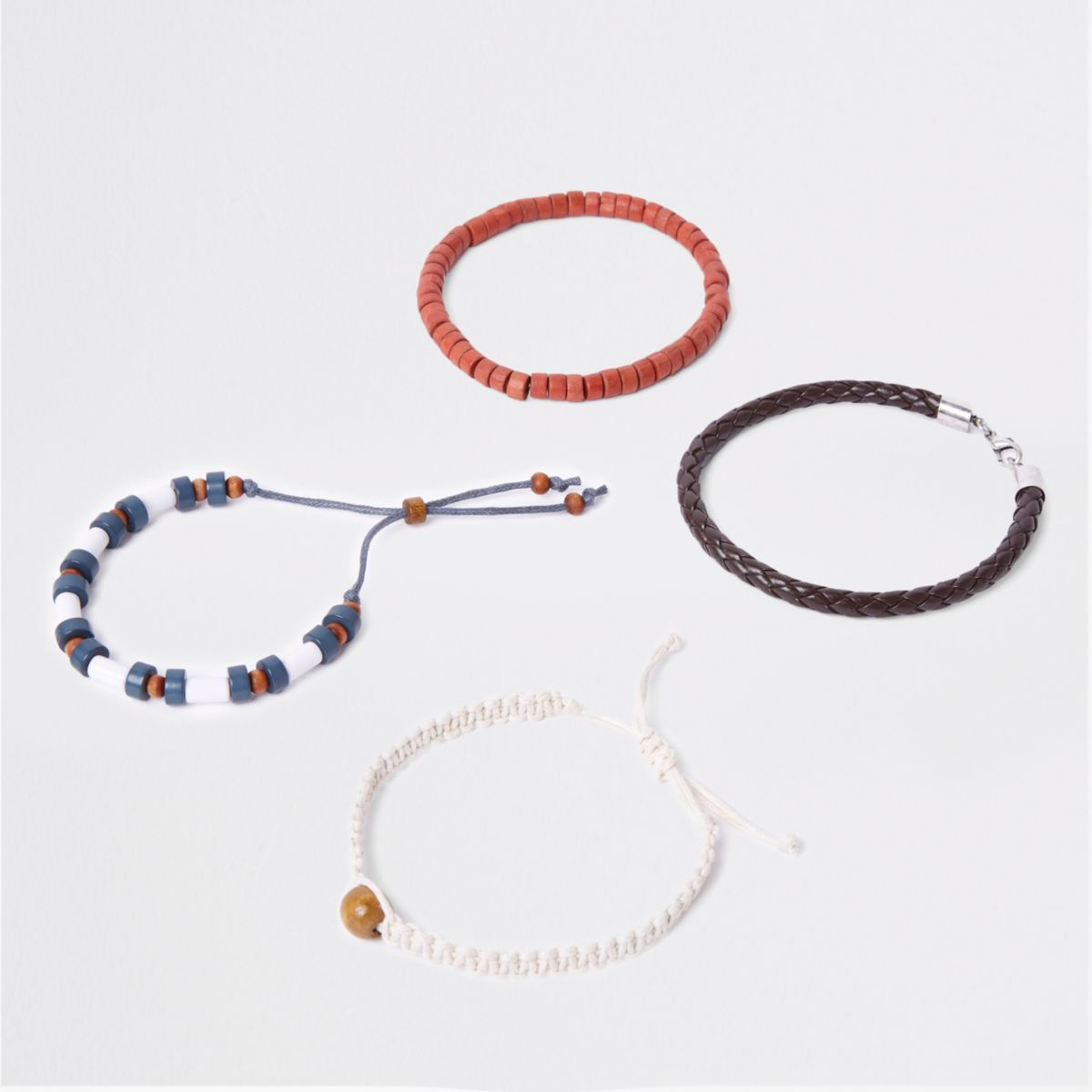 Blue bead and woven bracelet pack