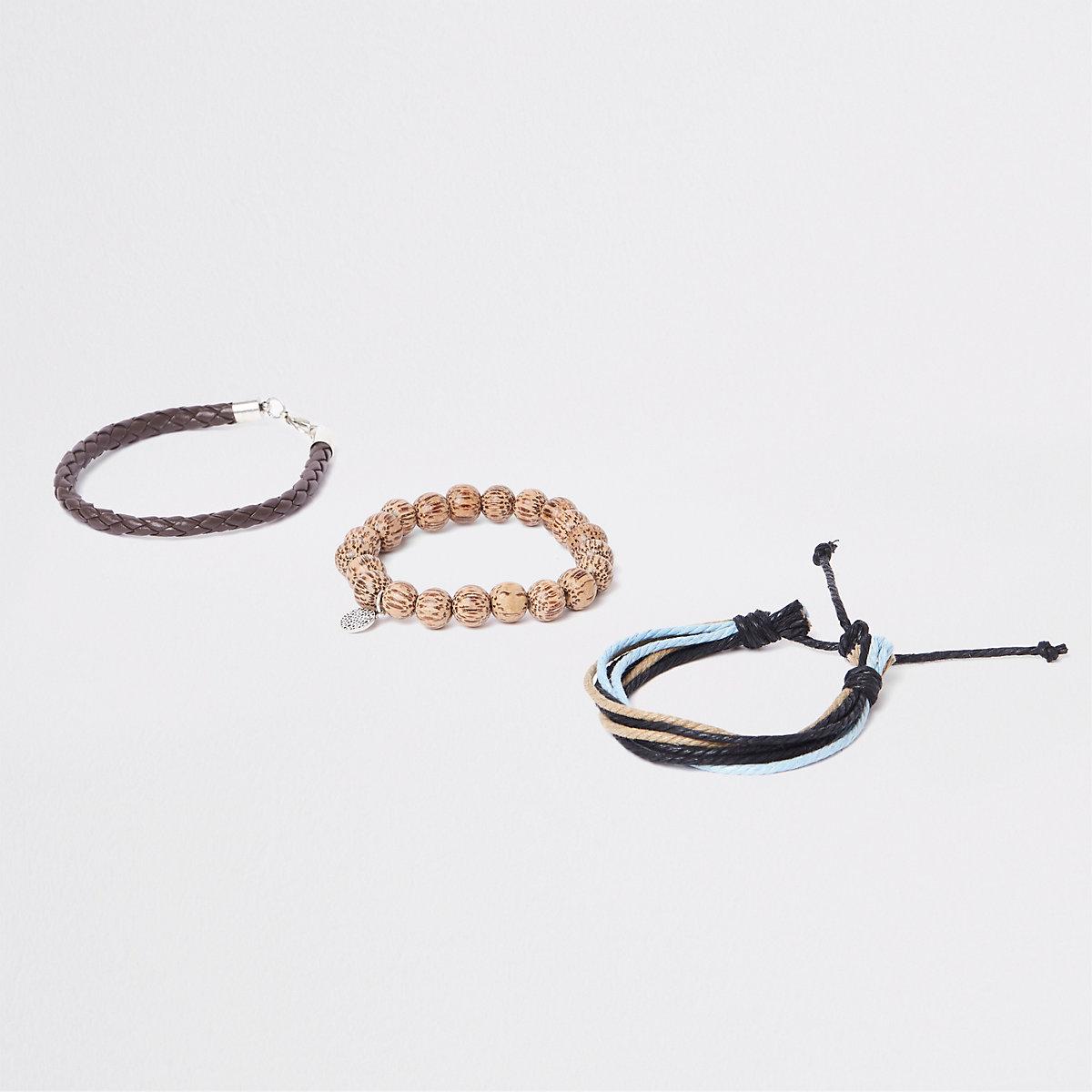Brown bead and lattice bracelet pack