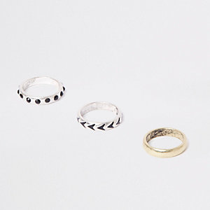 Silver tone diamante ring multipack