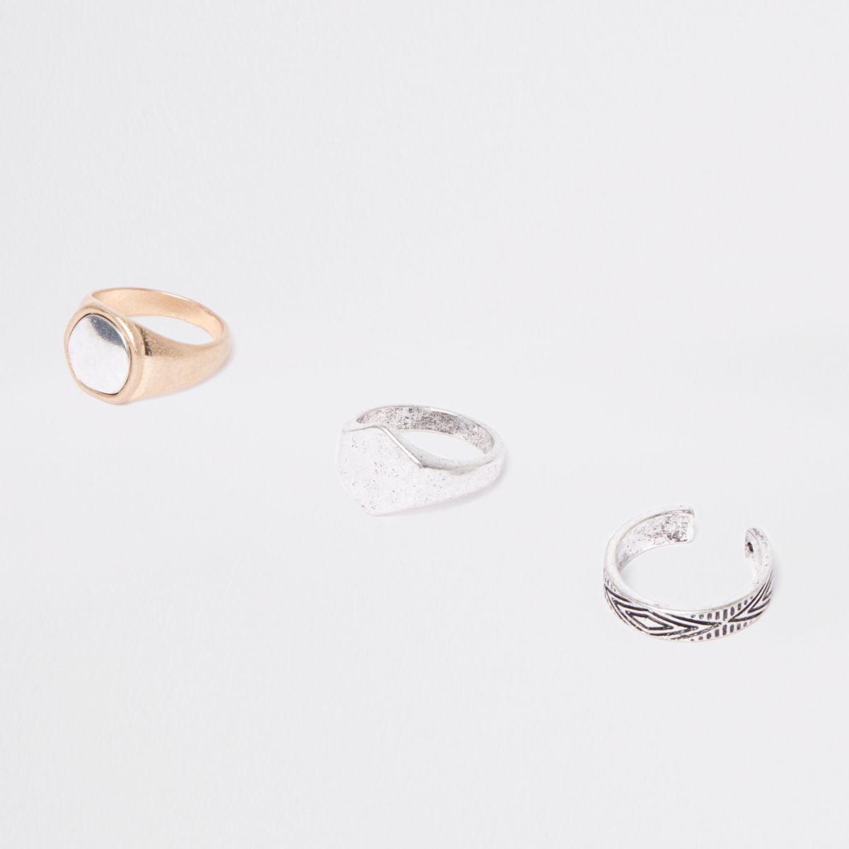 Silver and gold tone aztec ring multipack