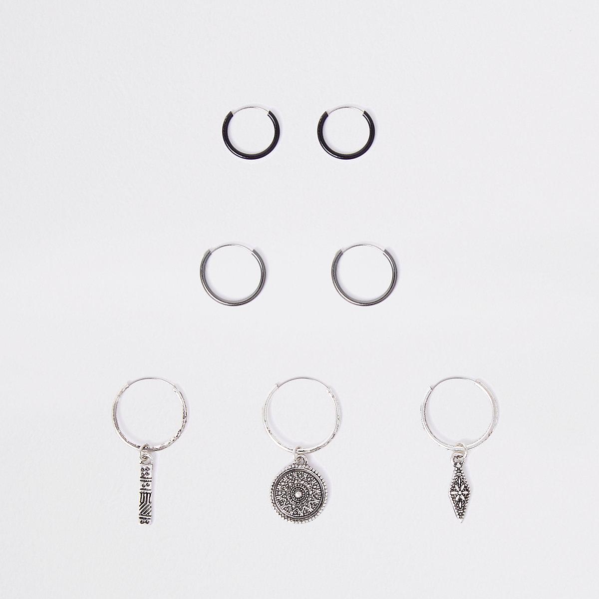 Silver tone hoop earring multipack