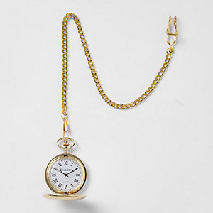 Gold tone pocket watch
