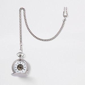 Silver tone pocket watch