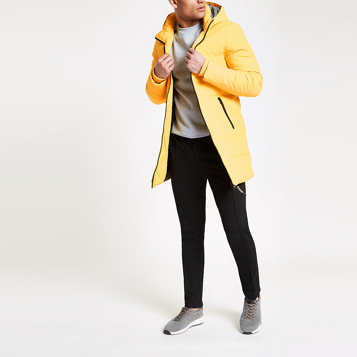 Only & Sons yellow longline puffer jacket
