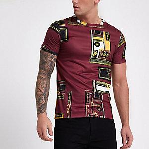 Red baroque print crew neck T-shirt