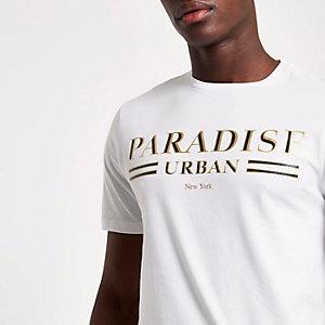 Wit slim-fit T-shirt met 'paradise'-print